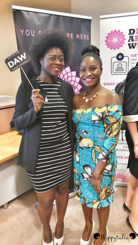Evelyne (CEO of Nappytalia ) con Khadijat Abdulkadir Founder of Digital African Woman (DAW)